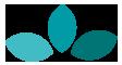 Dreifarbige Blumenblätter aus dem Logo